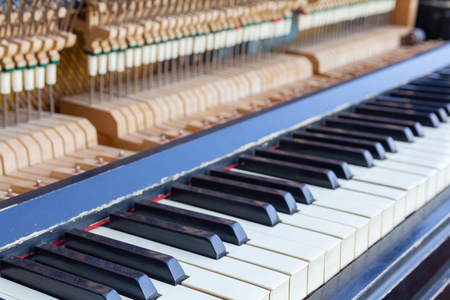 Open piano keys close up. Musical instrument Archivio Fotografico