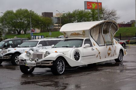 Kiev, Ukraine - April 15, 2016: Luxury wedding limousine in the parking lot is available for rent
