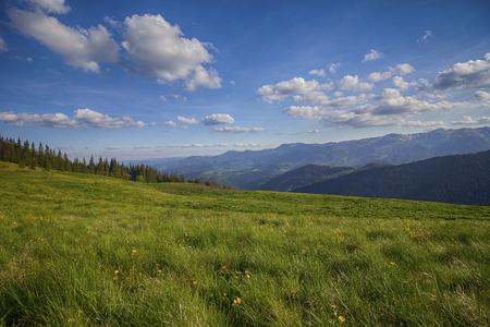 Mountain summer panoramic landscape with blue sky and clouds. Carpathians Reklamní fotografie