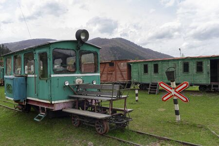 Kolochava, Ukraina - April 18, 2017: Narrow gauge railway of the USSR times in the museum exposition Editöryel