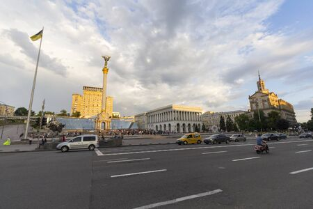 Kiev, Ukraine - June 16, 2016: View to Independence Monument, Hotel Ukraine at Maidan Nezalezhnosti