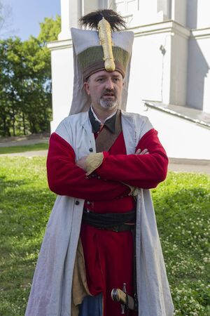 Kiev, Ukraine - May 09, 2018: Man in the form of a janissary at the historic reconstruction on the anniversary of victory in the Second World Waraa Editöryel