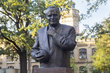 Kiev, Ukraine - October 05, 2018: Monument Academician Sergei Pavlovich Korolev in the park of the Polytechnic Institute