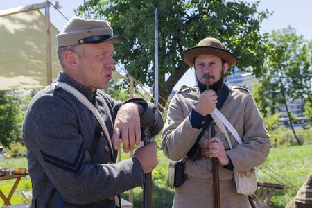 Kiev, Ukraine - May 27, 2018: Mens in the uniform of soldiers of times of civil war in the USA at a festival of historical reconstruction