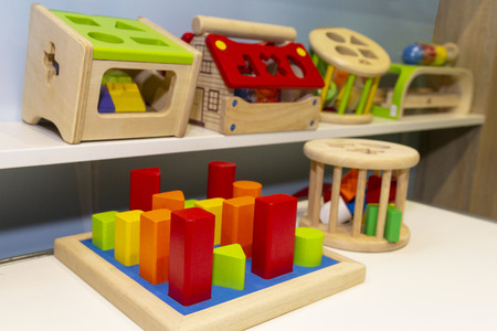 Wooden educational toys on the store shelves