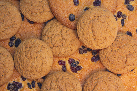 Delicious cookies with raisins. Backgrounds and Textures
