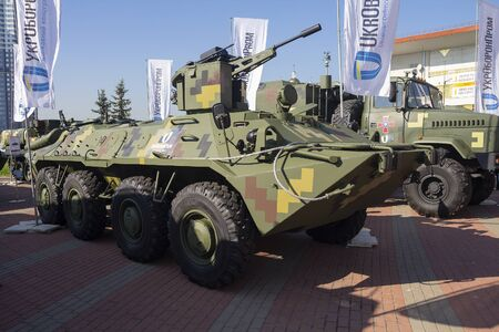 Kiev, Ukraine - October 10, 2018: Armored personnel carrierf BTR-4 the Ukrainian production at the Weapon and Safety exhibition