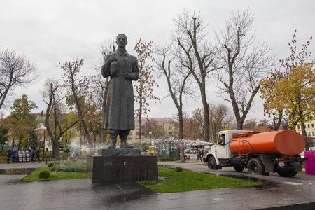 Kiev, Ukraine - November 02, 2018: Municipal services wash the monument to Grigory Skovoroda Editöryel