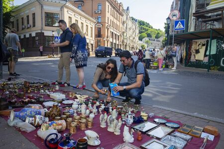 Kiev, Ukraine - May 19, 2019: Flea market in the Andrews Descent - the historical part of the city