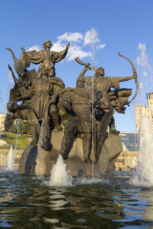 Monument of City-founders at Independence Square. Kiev, Ukraine
