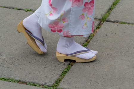 Girl in kimono and zori sandal. Japanese culture Banco de Imagens