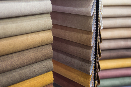 Samples of furniture fabric made of colorful fabric