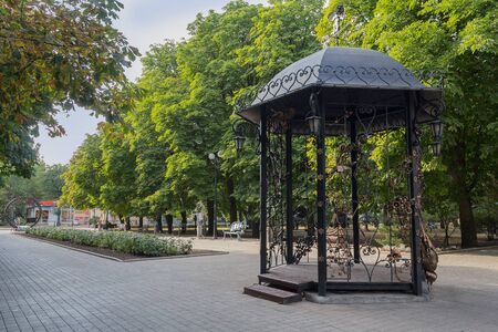 Donetsk, Ukraine - August 02, 2018: Forged pavilion in the park of forged sculptures in Donetsk