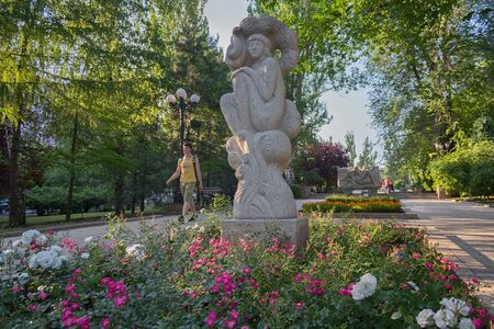 Donetsk, Ukraine - June 10, 2019: Stone statues on Pushkin Boulevard