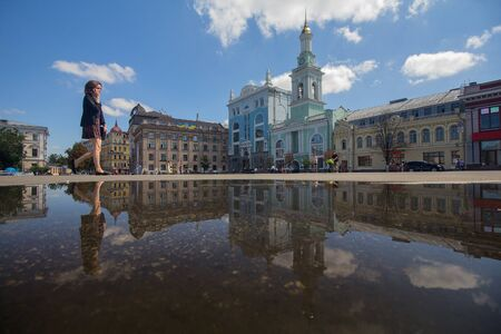 Kiev, Ukraine - August 09, 2017: Kontraktova square in the afternoon after rain Editöryel