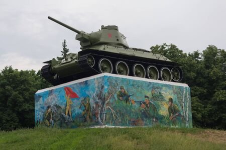 Gorlovka, Ukraine - May 25, 2019: Soviet tank of the Second World War on a pedestal in the park