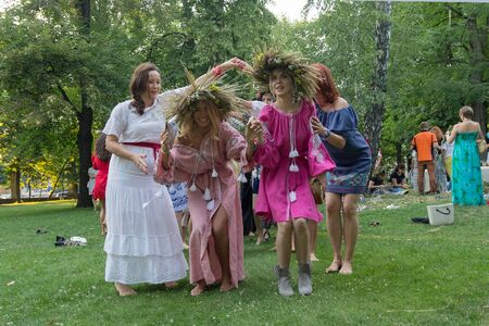 Kiev, Ukraine - July 06, 2017: Women dance during the celebration of a traditional Slavic holiday of Ivan Kupala