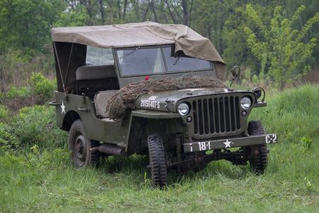 Kiev, Ukraine - May 09, 2019: Jeep of the American army at a historical reconstruction in honor of the anniversary of victory in World War II