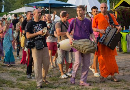 Kiev, Ukraine - July 24, 2018: Hare Krishna march with songs during the festival Vadalife