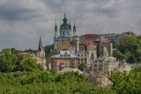 View of the St. Andrew's Church from the Temple Mount. Kiev, Ukraine