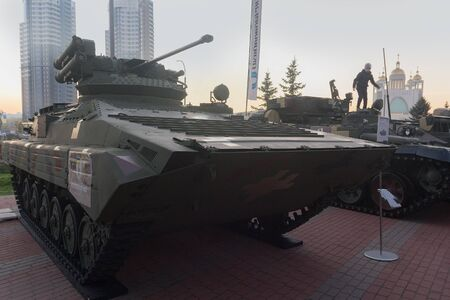 Kiev, Ukraine - October 10, 2018: Modernized infantry fighting vehicle of the Ukrainian production BMP-1UMD at the Weapon and Safety exhibition Editöryel