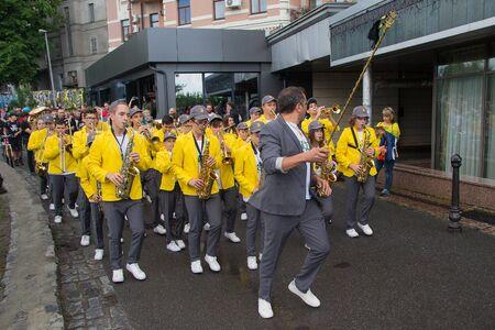 Kiev, Ukraine - May 19, 2018: Brass band marching at a street music festival Editöryel