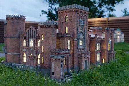 Kamyanets-Podilsky, Ukraine - June 30, 2018: Copy of the Dakhovsky Palace in miniature at the Museum of Miniatures in Kamenetz-Podolsky