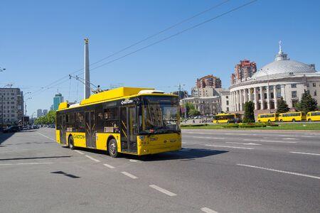 Kiev. Ukraine - April 20, 2018: Yellow trolleybus on Victory Avenue