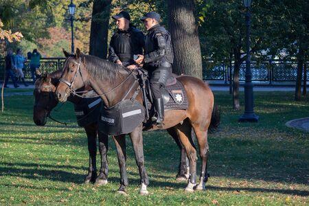 Kiev, Ukraine - October 14, 2018: Police officers on horseback patrol
