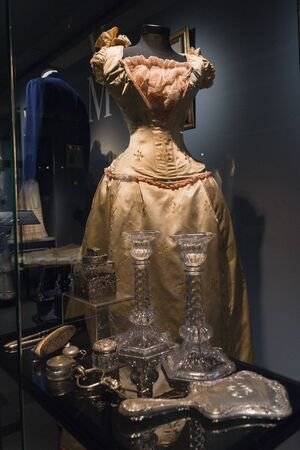 Kiev, Ukraine - May 18, 2019: Luxury retro womens dresses in the Museum of Costume and Style at the Victoria Museum