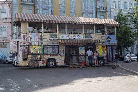 Kiev, Ukraine - June 05, 2018: Coffee bus located in the touristic area of Kiev