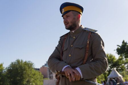 Kiev, Ukraine - May 27, 2018: Man in the form of a Russian officer during the civil war in Russia at the festival of historical reconstruction