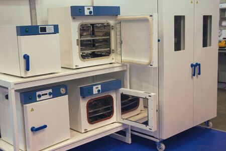 Cabinets of medical sterilization in the showroom. Medical equipment