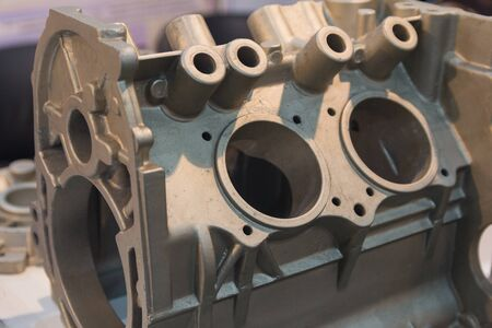 Metal product made by casting techniques closeup. Industry