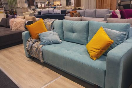 Sofas exhibited in the furniture store. Selling