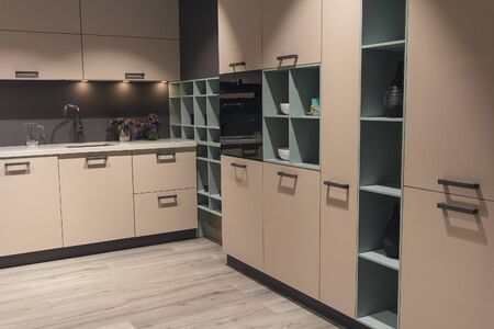 Modern kitchen with beige kitchen cabinets. Interior Stock fotó