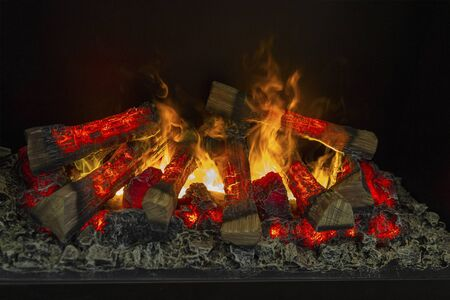 Fire burns in a fireplace. Fire to keep warm