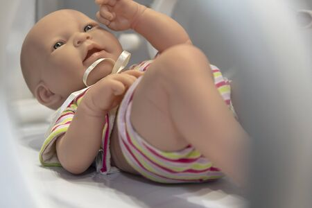 Mannequin infant in an incubator at hospital. Medical equipment Stok Fotoğraf