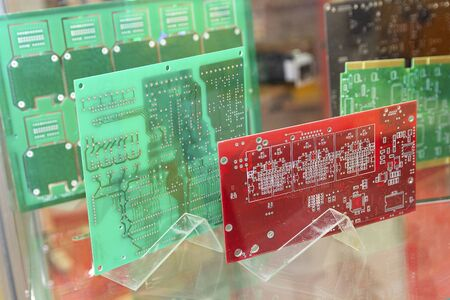 Printed circuit boards on the stand. Electronics