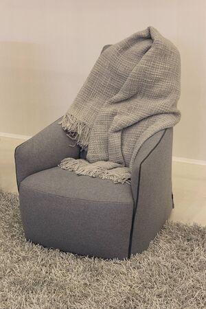 Comfortable modern chair and a cozy blanket. Interior Standard-Bild
