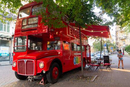 Kiev, Ukraine - July 28, 2019: Red double-decker red Bus cafe on the street in Kiev Sajtókép