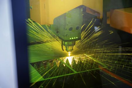 CNC Laser cutting of metal. Modern industrial technology