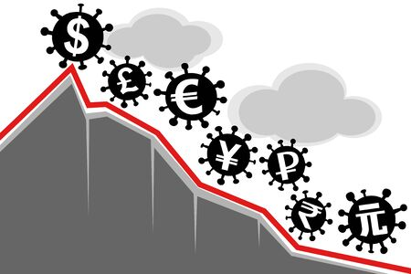 Virus covid-19 and the world economy. Vector illustration