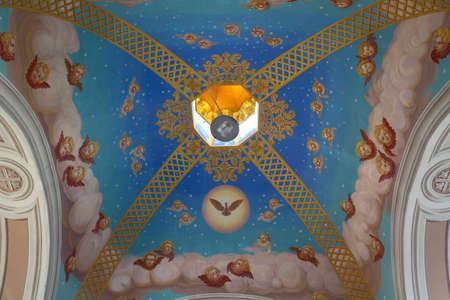Kiev, Ukraine - June 5, 2018: Ceiling painted gazebo in the courtyard of St. Michael's Monastery