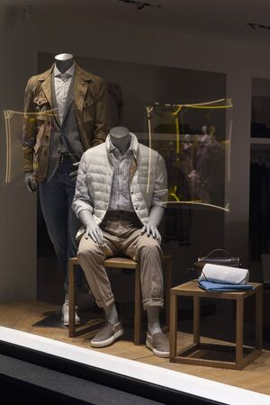 Male mannequin in a shop window. Fashion and sales Stock Photo