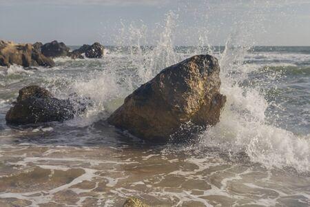 Wet stones and sea. Black sea view. Crimea