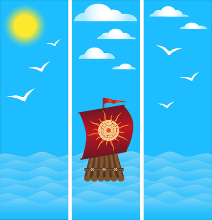Wooden raft with a beautiful red sail