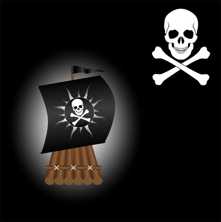 raft: Wooden raft with a sail and a black Jolly Roger