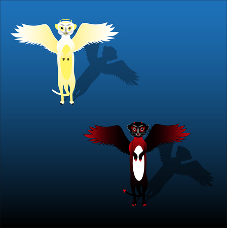 Meerkats Angels and Demons on a blank background Illustration