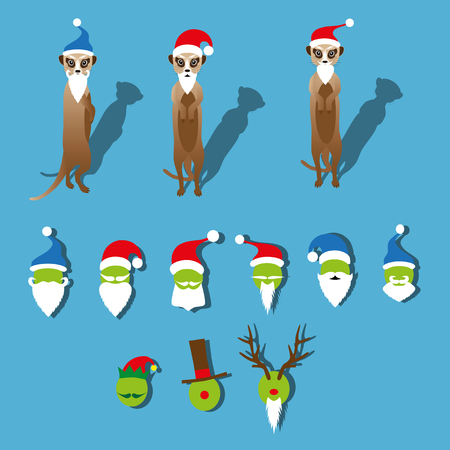 Meerkats with a beard and a Christmas hat